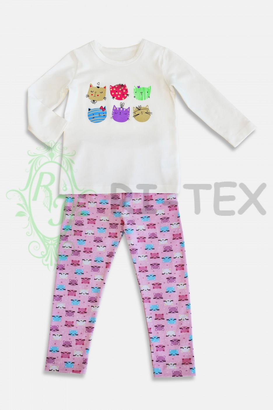 """Піжама для дівчаток """"Котики"""" М-045 (3-14 років)"""