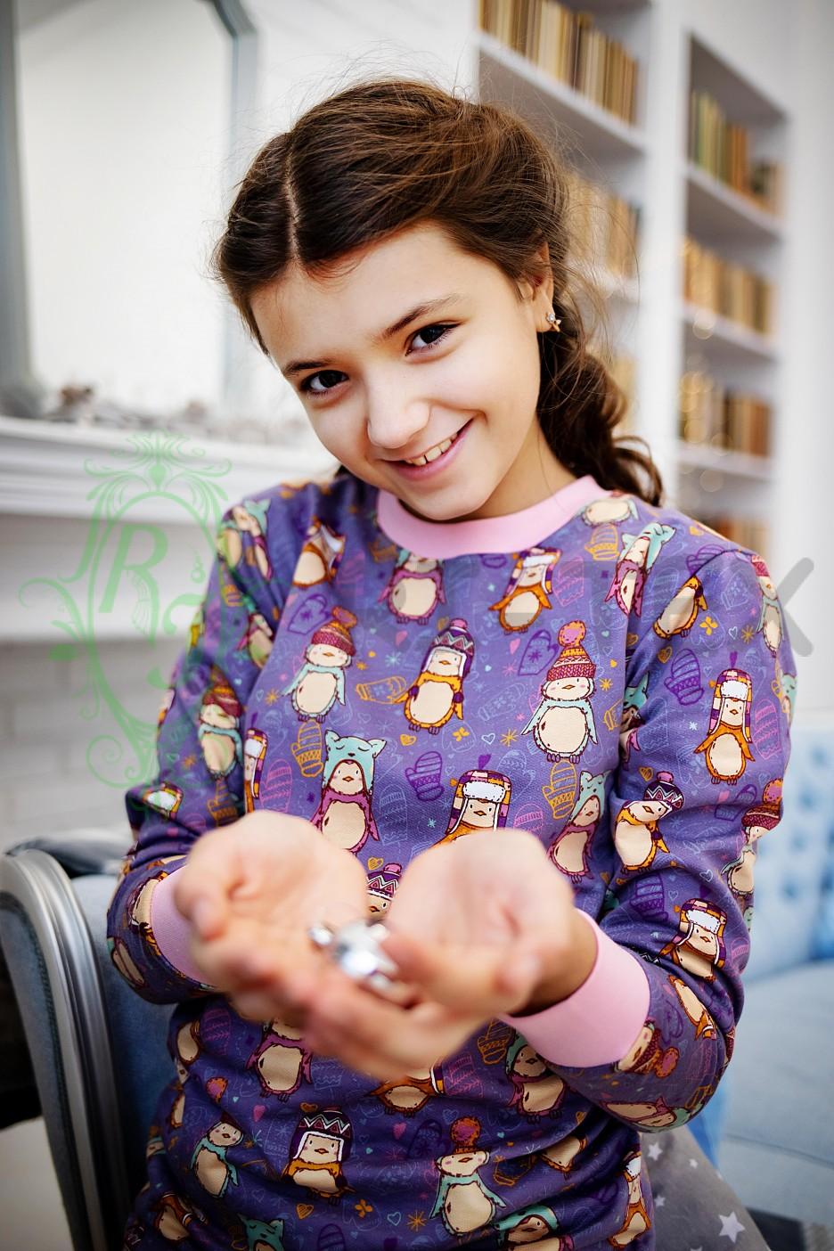 """Піжама для дівчаток """"Пінгвінчики в шапках"""" М-052 (3-16 років)"""