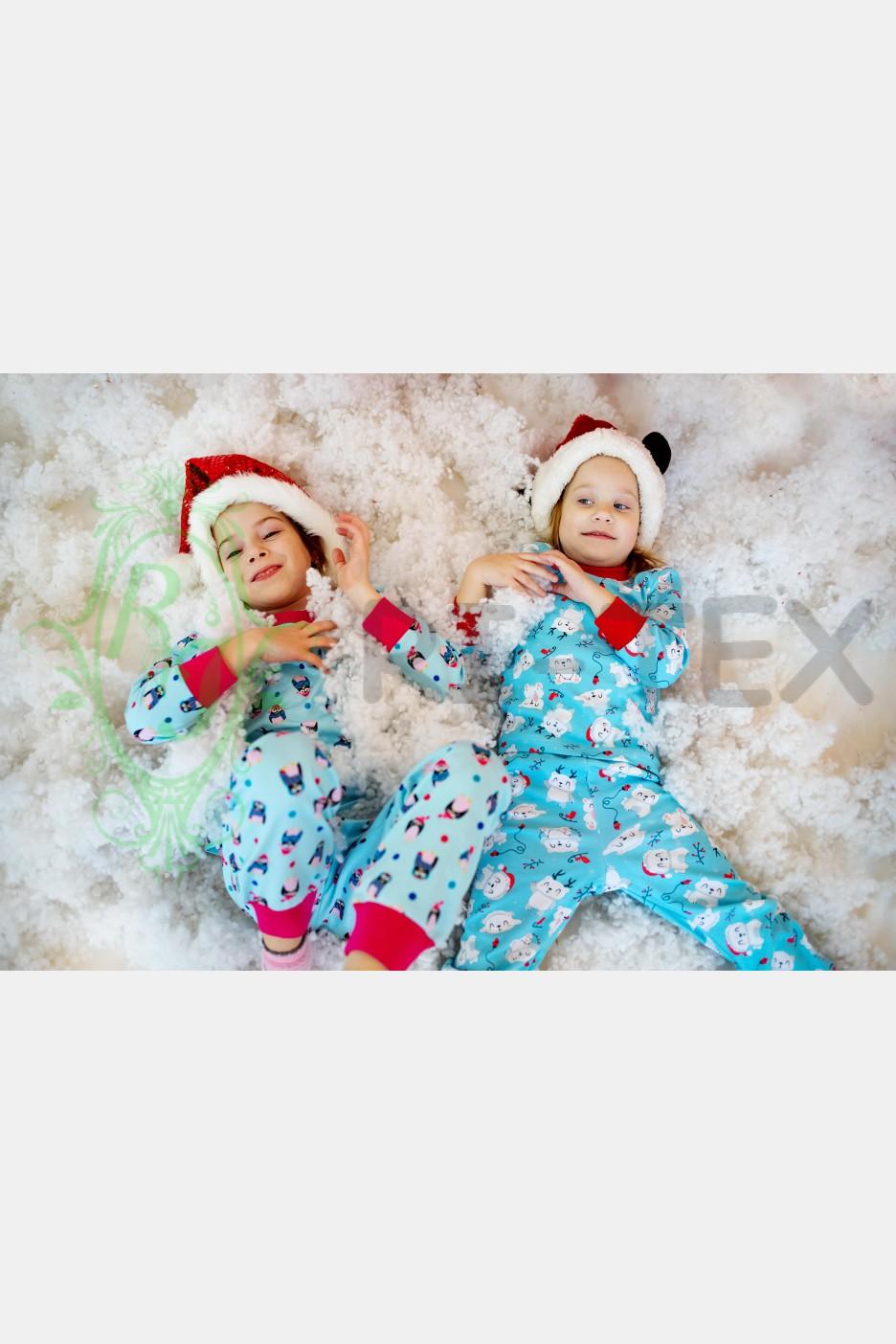 """Піжама для дівчаток """"Пінгвінчики"""" М-055 (3-14 років)"""